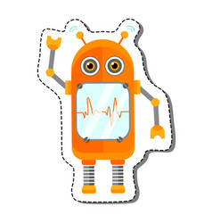 Orange cheerful cartoon robot character vector