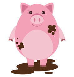 pink pig in muddy puddle vector image vector image