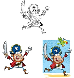 Pirate Running with Sword and Hook Collection vector image