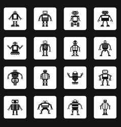 Robot icons set squares vector