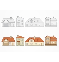 Set of suburban homes vector