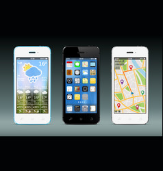 Smart phones with widgets and icons vector