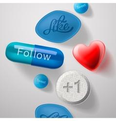 Social media addiction pills capsules isolated vector