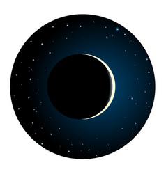 Solar eclipse round icon vector