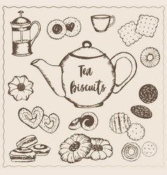 tea with biscuits vector image vector image