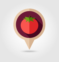 tomato flat pin map icon vegetable vector image