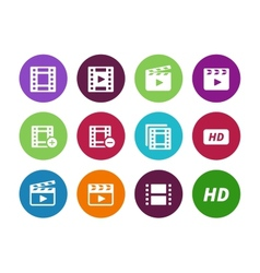 Video circle icons on white background vector image