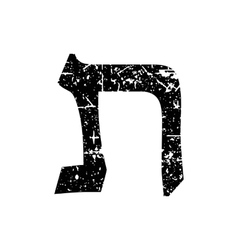 Hebrew letter tav shabby black font the hebrew vector