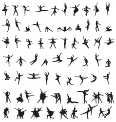 set of silhouettes of ballet dancers vector image