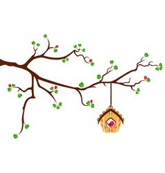 Tree branch with hut style bird house vector