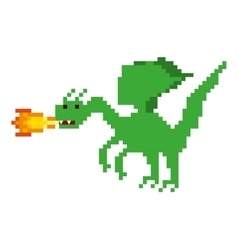 dragon beast pixelated icon vector image