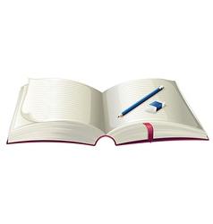 A book with a pencil and an eraser vector image