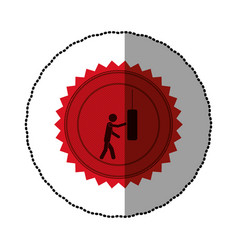 Red emblem person knocking punching bag vector