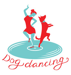 Dog dancing icon girl with dog dance on vynil vector