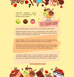 Poster for ice cream shop frozen desserts vector