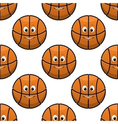 Basketball seamless pattern with funny balls vector