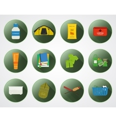 Camping with kids buttons with shadow set of flat vector