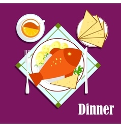 Seafood dinner with fried fish bread and tea vector