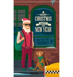 Hipster santa claus monkey and taxi on new york vector