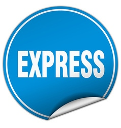 Express round blue sticker isolated on white vector
