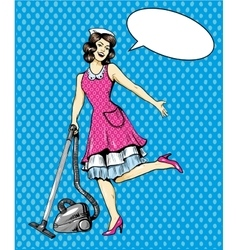 Woman vacuuming floor in house cleaning service vector