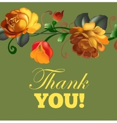 Thank you card with beautiful vintage flowers vector