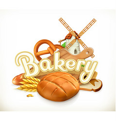 Bakery bread 3d label vector