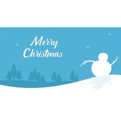 Beautiful scenery snowman silhouettes christmas vector