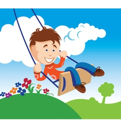 boy on a swing vector image