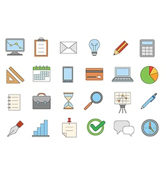 Business colorful icons set vector image vector image