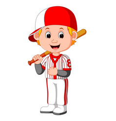 cartoon boy playing baseball vector image vector image