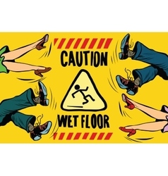 Caution wet floor feet of women and men vector