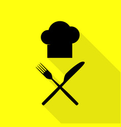chef with knife and fork sign black icon with vector image vector image