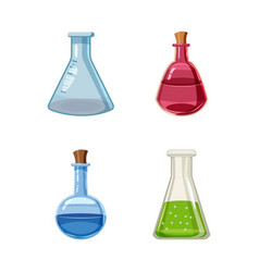 chemical pot icon set cartoon style vector image