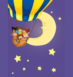 Children riding on balloon at night vector