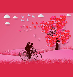 Concept of valentine day with a heart shaped tree vector