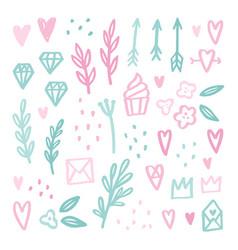 Cute romantic doodle drawings vector