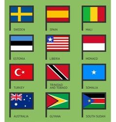Flags flat set-09 vector