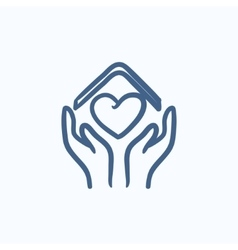 Hands holding roof of house and heart sketch icon vector image vector image