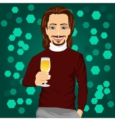 handsome man holding a glass of champagne vector image vector image