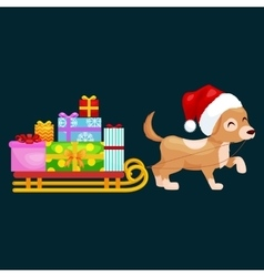 Happy christmas dogs on stack of presents xmas vector