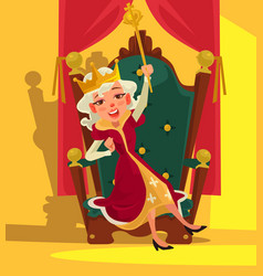 Happy smiling drunk queen sits throne vector
