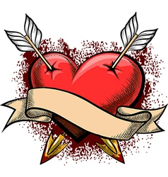 Heart pierced by arrows vector image