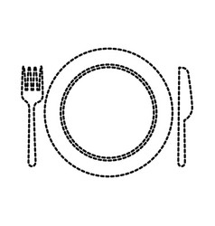 kitchen plate fork and knife domestic restaurant vector image