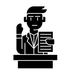 lecturer - speech - professional speaker icon vector image