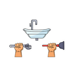 Man hand holding wrench plunger sink vector