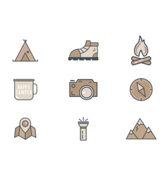 Mountain explorer camp icons in flat style travel vector