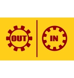 Out in buttons text within gears vector