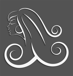 Outline girl curly hair cut out 3d vector image vector image