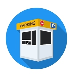 Parking toll booth icon in flat style isolated on vector